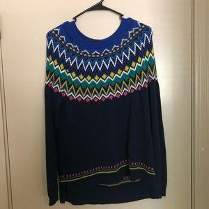 Blue patterned winter sweater.